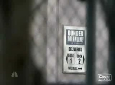 Screenshot of the sign in The Office opening credits