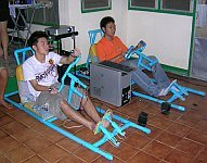 Thai Students Playing Daytona Usa In Pvc Racing Cars